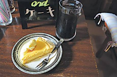▲メニューはコーヒまたは紅茶が選 べる日替りケーキ